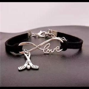Jewelry - NEW infinity hockey leather charm bracelet